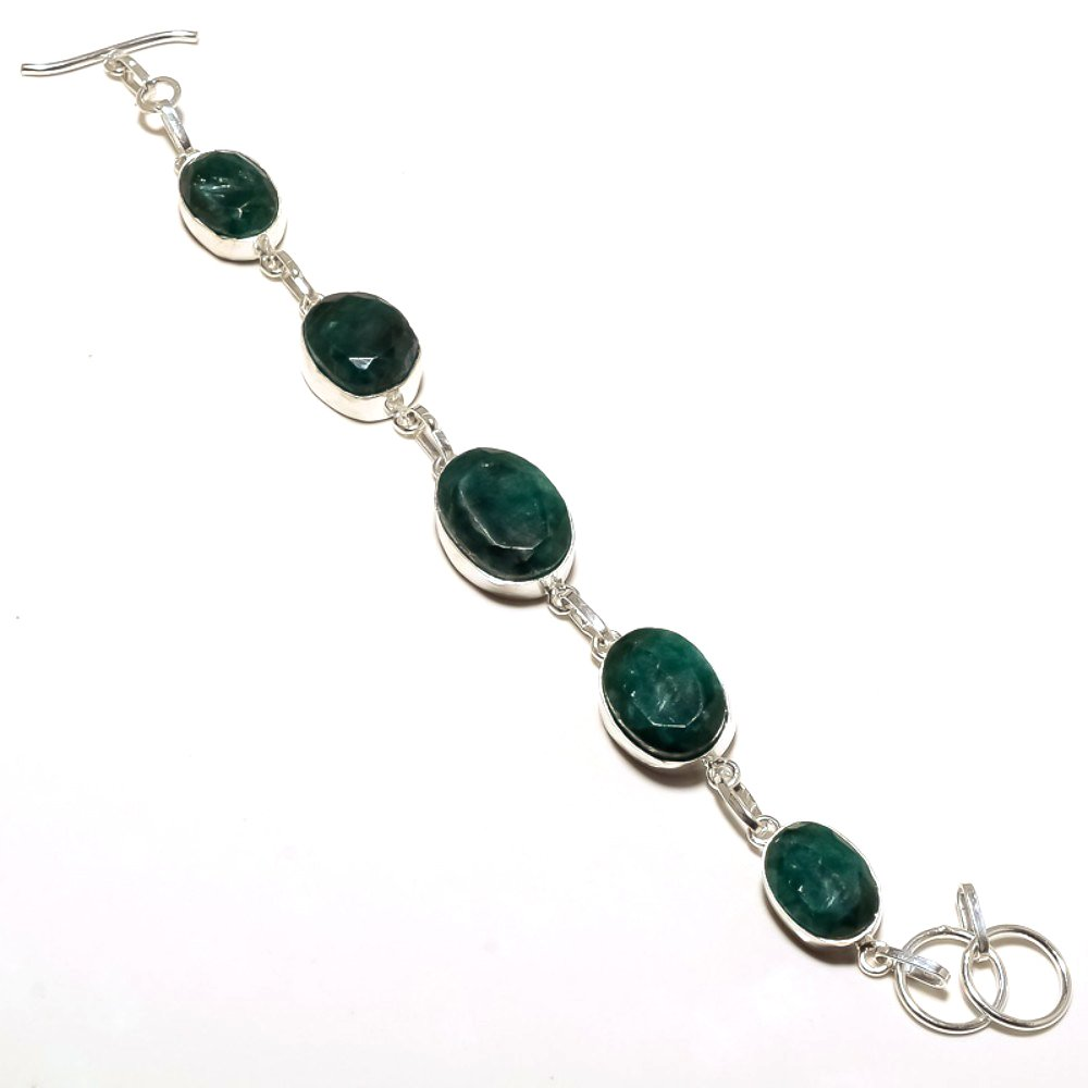 Gift Jewelry Handmade Jewelry Green Dyed Emerald Sterling Silver Overlay 19 Grams Bracelet 7-9