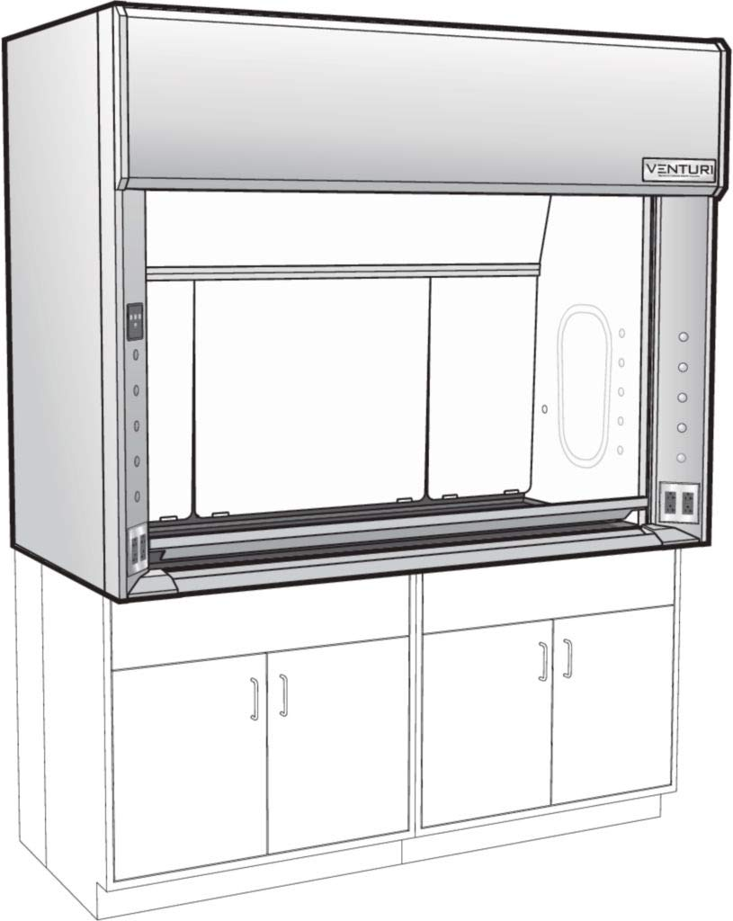 V05F283048LN - Inside Depth : 30'' - Venturi V05-General Purpose Bench Fume Hood with Vertical Rising Sash, Type 316L Stainless Steel Liner, Kewaunee Scientific - Each by Kewaunee Scientific