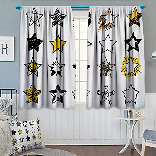 Chaneyhouse Star Window Curtain Fabric Sweet Sixteen Stars Hand Drawn Style Colorful Art Rock Punk Themed Teen Room Design Drapes for Living Room 72