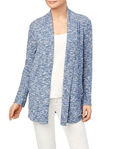 89th + Madison Women's Marled Knit Draped Open Front Pocket Cardigan Blue/White - Marled Knit Cardigan