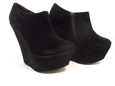 Ladies Womens Wedge Platform Suede Ankle Boots Shoes Black Size 8 ...