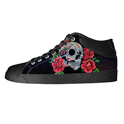Dalliy Red Rose And Skull Mens Canvas shoes Schuhe Lace-up High-top Sneakers Segeltuchschuhe Leinwand-Schuh-Turnschuhe A