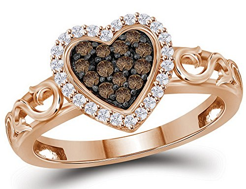 Pink Champagne Diamonds (10K Rose Pink Gold Heart Ring with Champagne and White Diamonds 1/4 Carat (ctw))