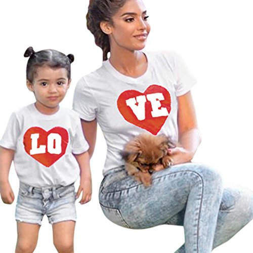 Price comparison product image Rucan Mommy & Me Mom & Baby Parent-Child Floral Print Sleeveless Ruffles T Shirt Family Matching Clothes Outfits (A,  Mom Large)