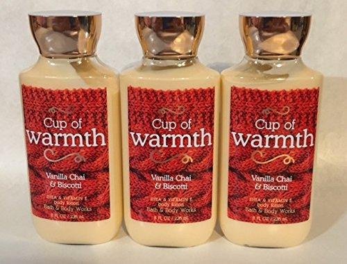 Lot of 3 Bath & Body Works Cup of Warmth Vanilla Chai & Biscotti Shea & Vitamin E Body Lotion (Cup of Warmth)