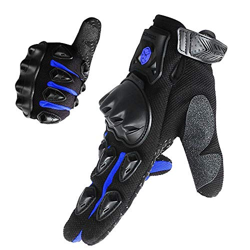 - SCOYCO Motorcycle Gloves men, with Reinforced Knuckle,Anti-Slip,Breathable,Shockproof Powersports Protective Riding Gloves (Blue,L)
