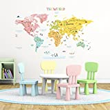 Decowall DLT-1616N Colourful World Map Kids Wall Decals Wall Stickers Peel and Stick Removable Wall Stickers for Kids Nursery Bedroom Living Room (Xlarge)