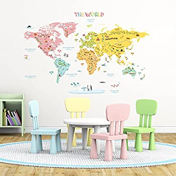 Amazon decowall dlt 1616n colourful world map kids wall decals decowall dlt 1616n colourful world map kids wall decals wall stickers peel and stick removable gumiabroncs Image collections
