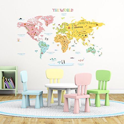 World Map Mural For Children Amazoncom - World map mural for kids
