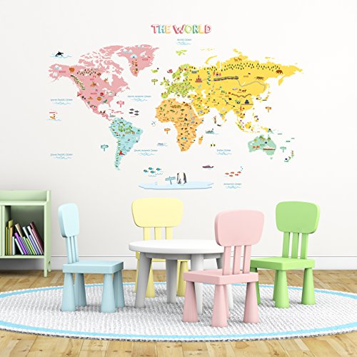 Cheap  Decowall DLT-1616N Colourful World Map Kids Wall Decals Wall Stickers Peel and..