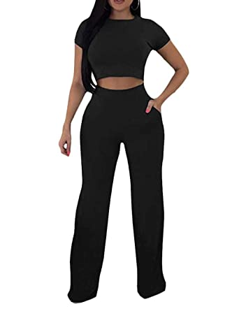 22b9373ae21 Angsuttc Sexy Wide-Leg 2 Piece Jumpsuit Short Sleeve Crop Top Pants Set for  Women