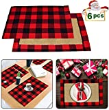 Yodofol Set of 6 Buffalo Checkered Placemats Christmas Classic Cotton & Burlap Red and Black Plaid Washable Table Mats for Holiday Kitchen Dinner Table Decorations (Red and Black)