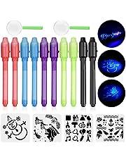 Anpro 10 Stylo Invisible à Encre avec lumière UV Light Surligneur Spy Pen 2 Mini loupes Détective 4 Pochoirs Dessin pour Enfants Remplir Carte Voeux Anniversaire Pochettes Surprises, Halloween Noël