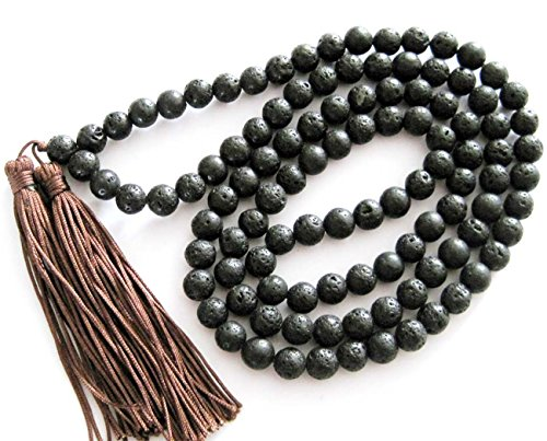 8mm 108 Black Volcano Lava Stone Beads Buddhist Prayer Wrist Mala Bracelet/necklace