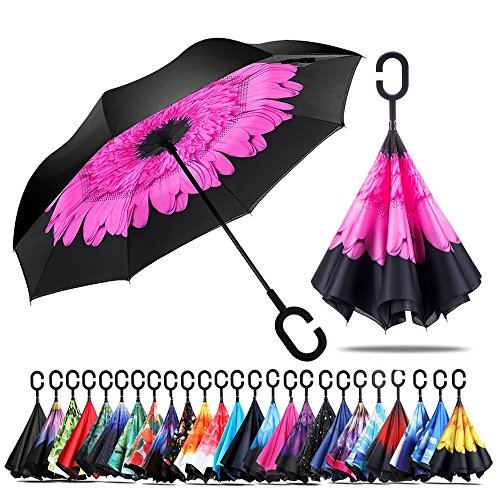 Owen Kyne Windproof Double Layer Folding Inverted Umbrella, Self Stand Upside-down Rain Protection Car Reverse Umbrellas with C-shaped Handle (Pink Flower)