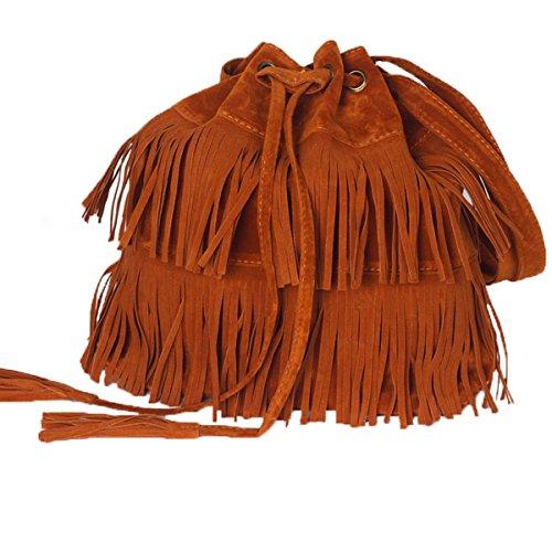 Brown Suede Fringe Crossbody Bag - 2