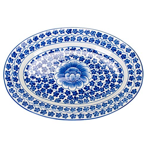 Sea Island Imports Elegant Porcelain Serving Platter with Blue and White Hand Painted Coriander - Italian Antique Porcelain