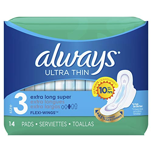 Always Ultra Thin, Feminine Pads for Women, Size 3, Extra Long, Super Absorbency, with Wings, Unscented, 14 Count - Pack of 6 (84 Count Total) (Packaging May Vary) (Always Infinity Overnight 14)