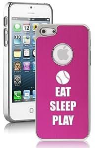 Apple iPhone 5 5s Hot Pink 5E325 Aluminum Plated Chrome Hard Back Case Cover Eat Sleep Play Baseball Softball