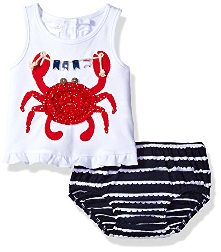 Mud Pie Baby Girls' Two Piece Bloomer Set Sleeveless, Crab, 3-6 (Two Piece Bloomers)
