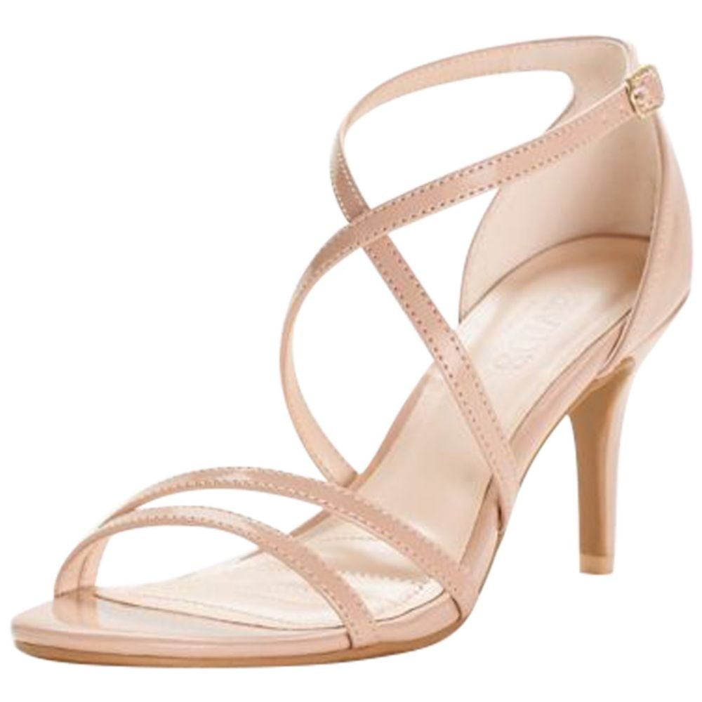 David's Bridal Crisscross Strap High Heel Sandals Style HARLEEN02, Nude, 10
