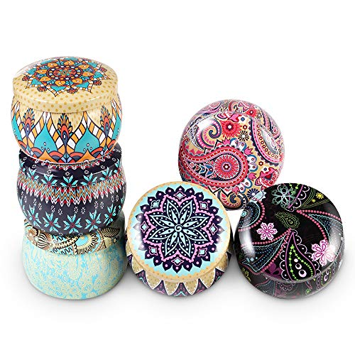 Candle Jars 6pcs Candle Making Kit Empty Metal Jar Tins Container Storage case Vintage Printed Coffee Tea Cans DIY Candle Wax Holder Jewelry Box Home Decorations Box