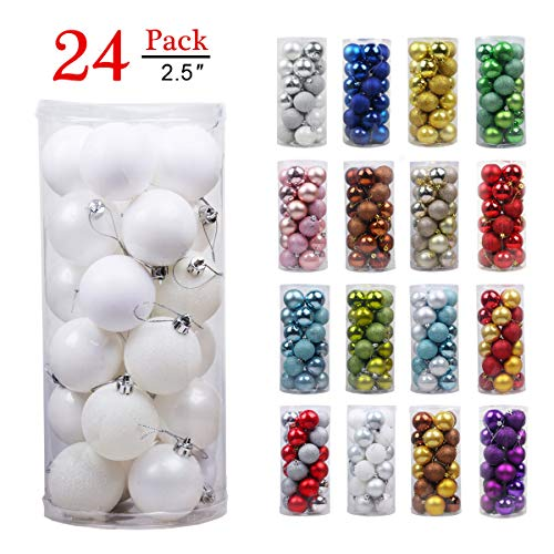 GameXcel Christmas Balls Ornaments for Xmas Tree - Shatterproof Christmas Tree Decorations Large Hanging Ball White 2.5
