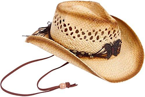 AbbyLexi Straw Cowboy Cowgirl Hat Wide Brim Beach Sun Hats for Boys, Butterfly