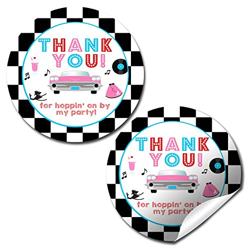 50s Themed Invitations (50's Sock Hop Thank You Sticker Labels, 40 2