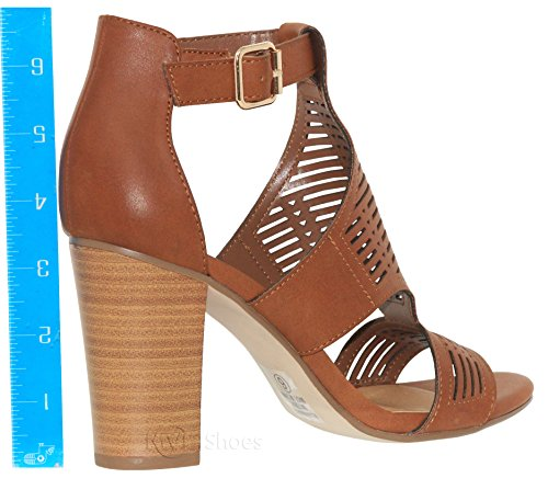 Heel Tannb Open f Shoes MVE Sandal Cut Women's Out Toe Chunky Ea0pcvzpq1