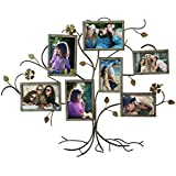 Adeco 7-Opening Decorative Bronze Iron Tree Wall Hanging Collage Photo Frame, 5 by 7""