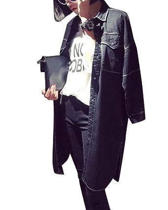 Veste longue en jean noire femme