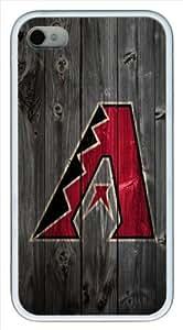 Arizona Diamondbacks wood background iPhone 4 4s Case, white iPhone 4 4s case, Design Case for Iphone 4 4s by runtopwell