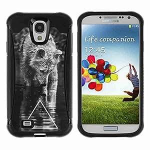A-type Arte & diseño Anti-Slip Shockproof TPU Fundas Cover Cubre Case para Samsung Galaxy S4 IV (I9500 / I9505 / I9505G) / SGH-i337 ( Cool B&W Wolf Triangle )