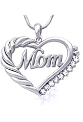 cocojewelry Mother's Day Gift MOM Word Engraved Heart Love Pendant Necklace