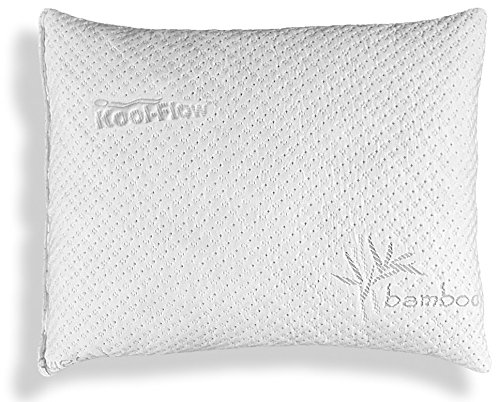 Xtreme Comforts Slim Hypoallergenic Shredded Memory Foam Standard Bamboo Pillow with Cover (Voted Best Mattress 2019)