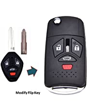 KEMANI New Uncut Right Groove Blank Smart Remote 4 Buttons Car Keyless Key Case Fob Shell For 08 09 10 11 12 2008-2012 Flip Mitsubishi Eclipse Endeavor Galant Lancer Outlander Replacement Housing