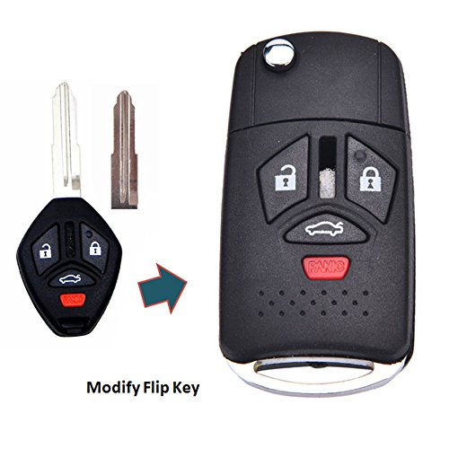 - KEMANI New Uncut Right Groove Blank Smart Remote 4 Buttons Car Keyless Key Case Fob Shell For 08 09 10 11 12 2008-2012 Mitsubishi Eclipse Galant Lancer Replacement (Flip key)