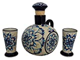 Liquor Decanter Set Tequila, Handmade and Hand Painted, Made of Baked Ceramic at High Temperature (Eva Blue, 3)