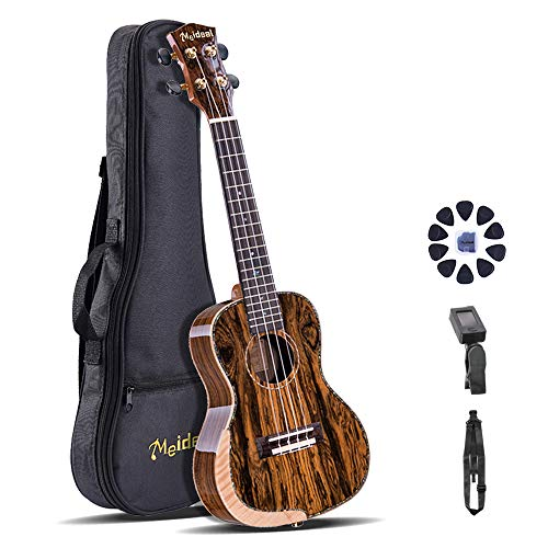Meideal 24 inch Concert Ukulele Set 24in Premium Butterfly Wood Ukulele Aquila Strings Perfect Professional Ukulele Set with Gig Bag Strap Picks and Tuner Best Ukulele Set for Ukulele Lover as Gift
