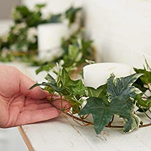 Factory Direct Craft 12 Feet of Artificial Mixed Ivy Vine Garland for Home Decor, and Displaying 2