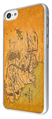 873 - Lord of the Ring map of middle earth Design iphone 5C Coque Fashion Trend Case Coque Protection Cover plastique et métal