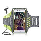 Zeonetak Running Armband for iPhone X/ 8/7/ 6S/ 6 Samsung Galaxy S9 S8 S7 S6,Sweatproof iPhone Armband with Reflective Strap,Card Pocket,Key Slot,Earphone Holder Green Gray