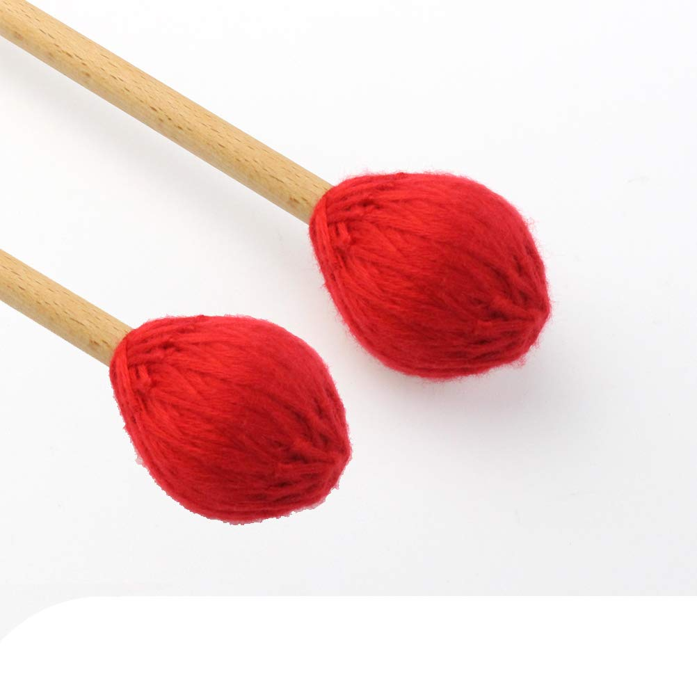 Yolyoo Medium Hard Yarn Head Keyboard Marimba Mallets with Maple Handles,Pack of 2 Red