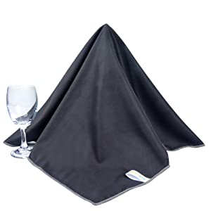 SINLAND Microfiber Glass Polishing Cloths Thick Lint -Free Drying Towels for Wine Glasses Stemware Dishes Stainless Appliances 20 Inch X 25 Inch Pack of 2 Black
