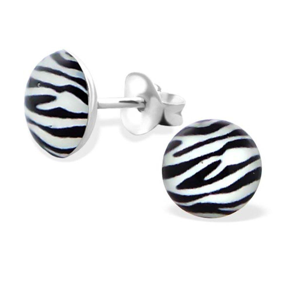 Zebra Print Round Stud Earrings 925 Sterling Silver (E19691)