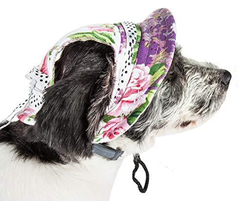 Pet Life 'Botanic Bark' Floral Uv Protectant Adjustable Fashion Canopy Brimmed Dog Hat Cap, Large, White