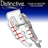 #5: Distinctive Clear 1-4 (Quarter Inch) Quilting Sewing Machine Presser Foot with Edge Guide - Fits All Low Shank Snap-On Singer, Brother, Babylock, Janome, Kenmore, White, Juki, Simplicity and More!