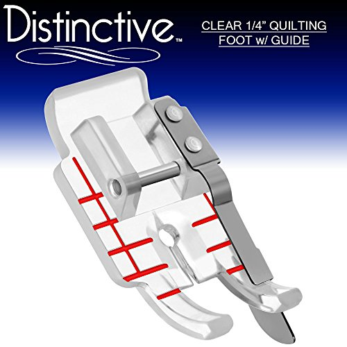 Distinctive Clear 1-4 (Quarter inch) Quilting Sewing Machine Presser Foot with Edge Guide - Fits All Low Shank Snap-On Singer, Brother, Babylock, Janome, Kenmore, White, Juki, Simplicity and More! ()