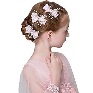 DreamYo 3 Packs Headdress Flowers Beading Beautiful Girls Hair Accessories